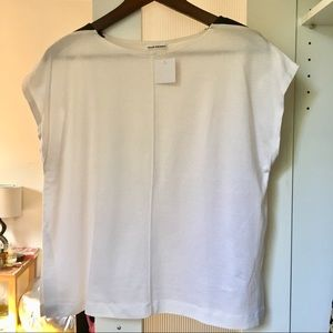 NWT Club Monaco boxy faux leather shoulder tee